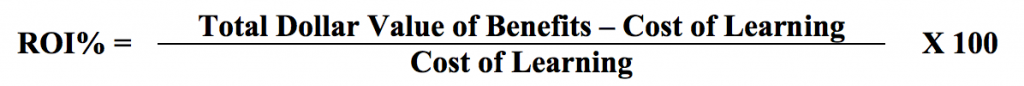 ROI% = (Total Dollar Value of Benefits – Cost of Learning)/Cost of Learning X 100
